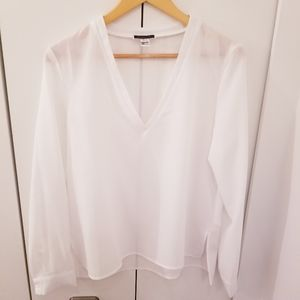 Another Story | White V Neck Blouse Top Shirt